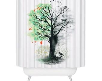 Beautiful Tree Foliage Shower Curtain Green Leaves Nature Forest Birds Life Death Rebirth Fabric Bathroom Decor