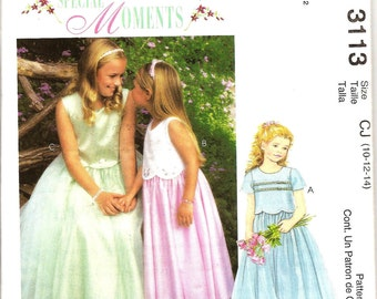 Flower Girl -Special Occasion Dress - McCalls 3113 Special Moments Out of Print - US Girls Sizes: 10 -12 -14
