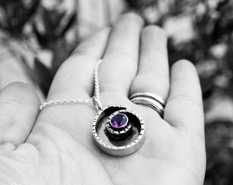 Sterling silver and Amethyst Handcrafted Necklace - Nautilus -