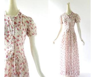 Vintage 1930s Gown | Floral Dress | 30s Dress | XXS XS