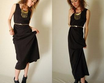 Draped Maxi Dress Vintage Classic Black Sleeveless Draped Retro Boho Maxi Dress  (s m)