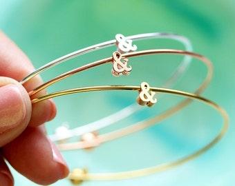 Ampersand Bangle Bracelet - Tiny & Silver Gold Rose Gold Custom Bridesmaid Gift Personalized Wedding Ampersand Bracelet Bangle Layered