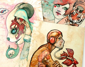"Coffee Creatures Small Art Prints - Panda Bear - Betta Fish - Circus Tiger - Coffee Art Gift - Choose 1 5x7"" Art Print"