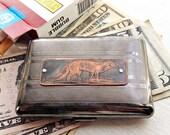 Red  Fox Etched & Embossed Wallet / Cigarette Case in Pinstripe Pattern - Acid Bath Series