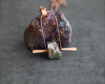 Grey Druzy Stone Arch Pendant Necklace - Rustic Copper, Metalwork Rivet, Titanium Quartz, Boho Jewellery