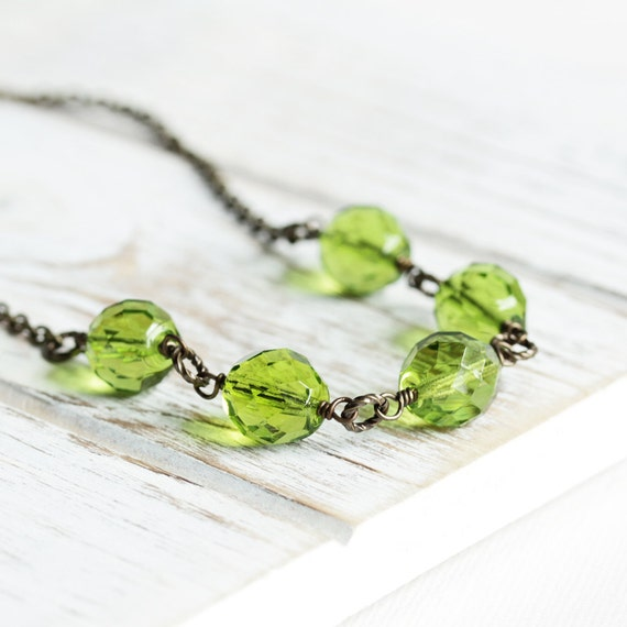 Fern Green Necklace - Green Bead Necklace with Antiqued Brass Chain, Olive Green Linked Necklace, Faceted Glass Necklace, Fashion Jewelry