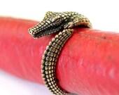 Crocodilian Ring in Solid Bronze Cayman Ring 458