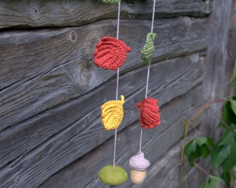 Autumn fall Woodland nursery garland felted acorn mushroom owl crochet leaves decoration ornament spring fall autumn red yellow pink green
