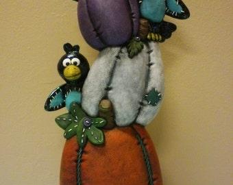 Hand Painted Ceramic Magpies & Pumkins Stack