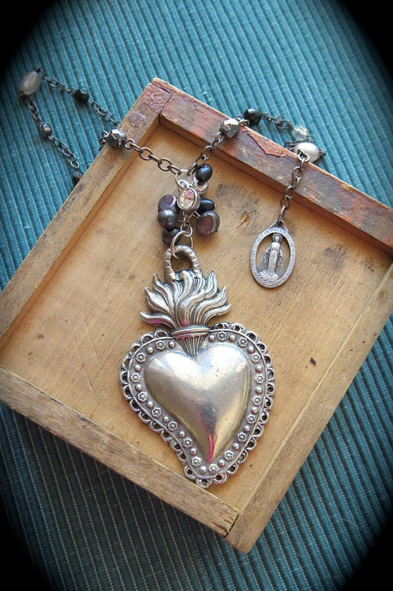 Pewter Ex Voto SACRED HEART Milagro adorning Vintage Glass Pearl Necklace- Perfect gift for the one you love