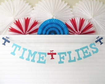 Time Flies Banner - 5 Inch Letters with Airplanes - Airplane Birthday Banner 1st Birthday Party Airplane Banner Airplane Party Decoration