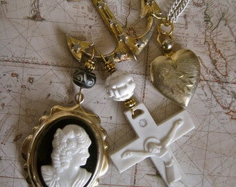 The Sailor's Lost Love: ANCHOR Necklace Vintage Assemblage Romantic Cameo Heart Locket Cross Gold Black White Long Chain Nautical Pirate