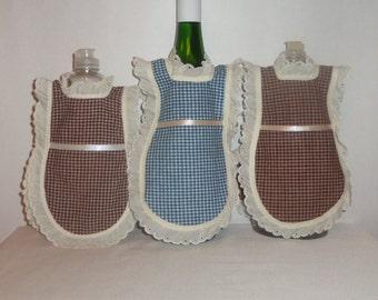 Wine Bottle Apron,  Dish Soap, Detergent Cover, Cotton Homespun, Eyelet Lace, Primitive Rustic, Kitchen Decor