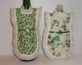 Wine Bottle Dress, Detergent Cover, Bottle Gift Wrap, Dish Soap Mini Apron, Green Ivy, Kitchen Decor, Dish Soap Cozy, Eyelet Lace