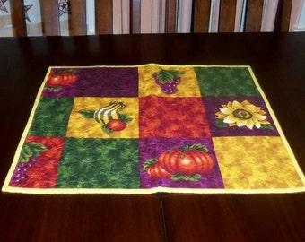 Fall Table Topper, Quilted, Autumn Table Runner, 18x21 inches, Sale Priced, Machine Quilted, Dining Table Decor