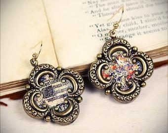 Medieval Earrings, Illuminated Manuscript, Renaissance Earrings, Renaissance Jewelry, Medival Jewelry, Tudor Costume, Elizabethan, SCA Garb