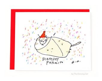 Funny Birthday Card - Birthday Purrito - Birthday Cat Card