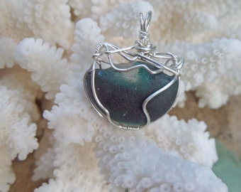 English Sea Glass Necklace - Unusual Funky OOAK Gift for Her