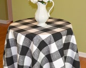 Black White Buffalo Check Round Tablecloth - Premier Prints Anderson  -  Wedding, Banquet, Party, Holiday - Choose Size