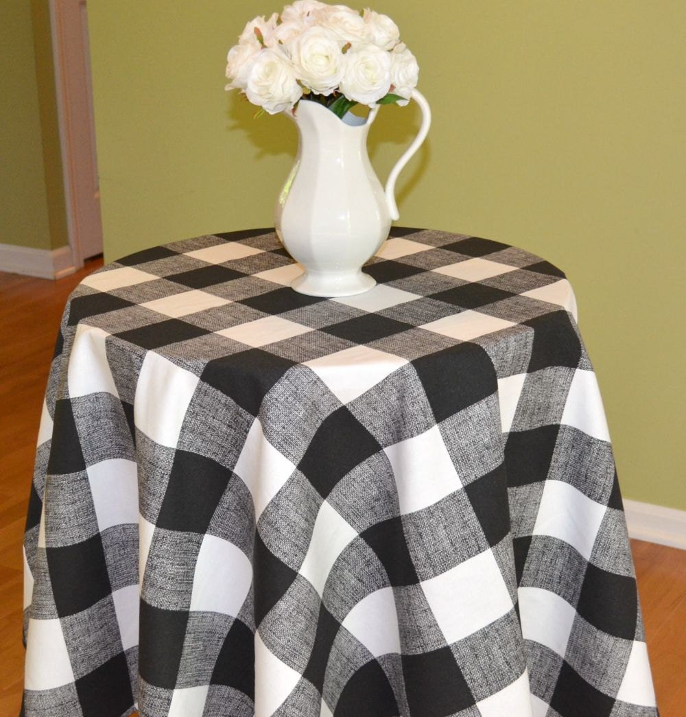 Black White Buffalo Check Round Tablecloth By