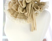 Ruffle Neck Warmer - Fall Fashion Collar - Crochet Cowl in Natural by Mademoiselle Mermaid