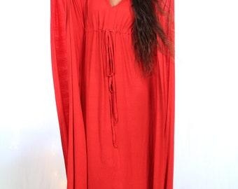 Red Kaftan Maxi Dress in Jersey Knit - Long Caftan - 24 Colors