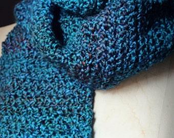 The Boathouse Storyteller Scarf. Rustic Gypsy Bohemian Bohochic Hand Crocheted Turquoise Indigo Fringe Scarf.