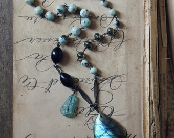 Bohemia. Rustic Boho Gypsy Labradorite, Sesame Jasper and Ancient Roman Glass Gemstone Necklace.