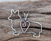 Corgi Necklace, Custom Dog Necklace, Sterling Silver Dog, Dog Outline, Wire Jewelry