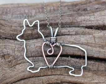 Pembrook Corgi Necklace, Custom Dog Necklace, Sterling Silver Dog, Dog Outline, Wire Jewelry
