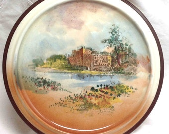 Royal Doulton Plate Trivet /Teapot Stand Shakespeare's Country Vintage Guys Cliff House Warm Rust, Orange, Yellow and Green Made in England