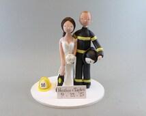 Custom Handmade Firefighters Wedding Cake Topper