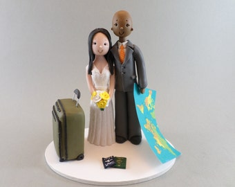 Bride & Groom Customized Travel Theme Wedding Cake Topper