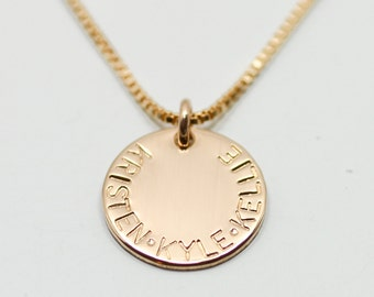 Gold disc necklace - dainty gold necklace - kids name necklace - gold jewelry - engraved necklace - minimalist mother jewelry - gift for mom