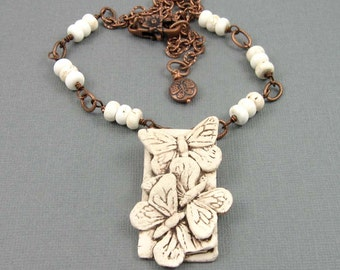 Antiqued Ivory Butterfly Necklace, polymer clay butterfly trio pendant with adjustable length copper chain, insect jewelry