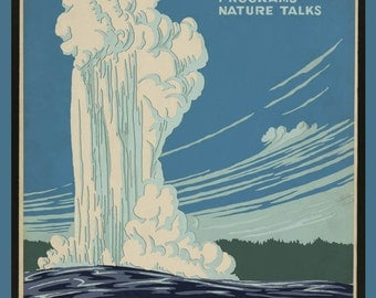 "WPA Poster ""Yellowstone National Park"" ~ circa 1930 - Giclee Fine Art Print"
