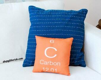 Carbon - Science Chemistry Element Pillow - Available as Carbon, Sulphur, Oxygen, Hydrogen