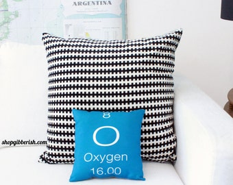 Oxygen Science Pillow - Chemistry, Periodic Table of Elements - oxygen, carbon, sulphur, hydrogen