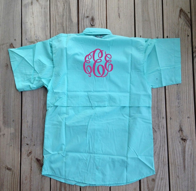 Monogrammed fishing shirt short sleeve bridesmaid gifts for Monogram fishing shirt