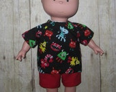Caillou Classic 14.5 inch Doll Clothes Cute Monsters Shirt and Short  Set  Made In Usa   PBS  Sprout