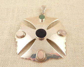 SALE ---- Vintage Sterling Square Mexican Maltese Cross Pendant with Rounded Pastel Color Gemstones