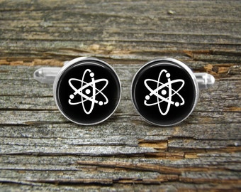 Cufflinks Atom Physics-Black-Wedding-Jewelry Box-Silver-Keepsake-Man gift-Graduation-Men-Groom-Groomsmen-Scientist-Chemistry-Science-Chemist