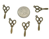 Scissors Charms, 3 pieces, Hairdresser Charm, Barber Charm, Hair Stylist Charm, Bronze Charm, Findings, Craft Supplies, Inexpensive, Cheap