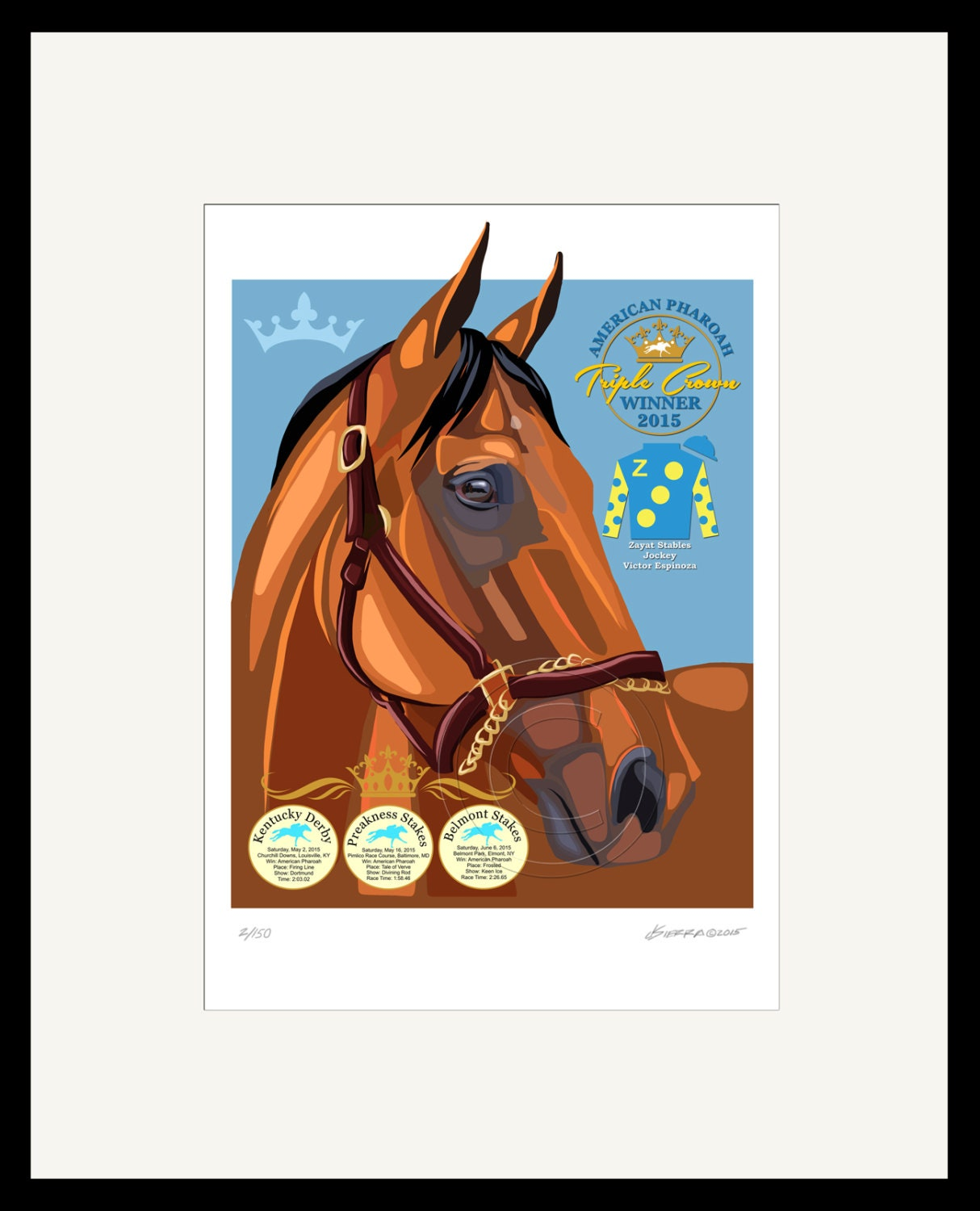 American Pharoah Commemorative Art Print Digital Painting