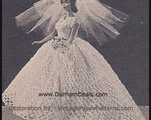 Barbie Wedding Dress Crochet 1966 Vintage Barbie 'BRIDE' Crochet Pattern PDFInstant Download-Hard Copy Is Also Available By Letter Post