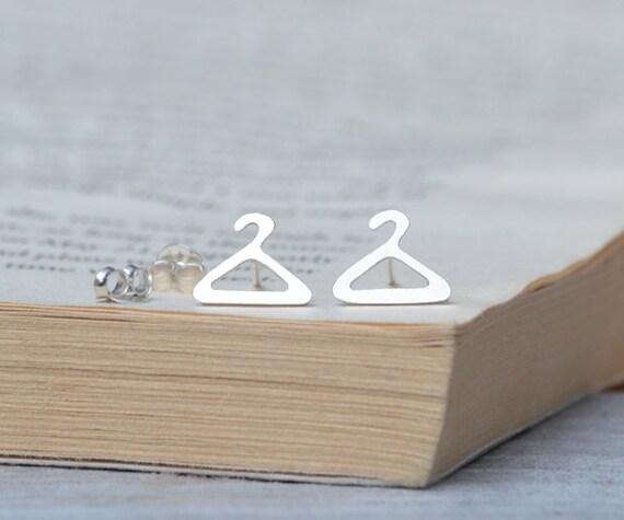hanger ear studs in sterling silver, tailor's earring studs handmade in the UK