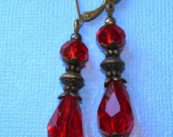 Large Red Crystal Teardrop Bali Style Bronze Plated LeverBack Earrings Boho Glass