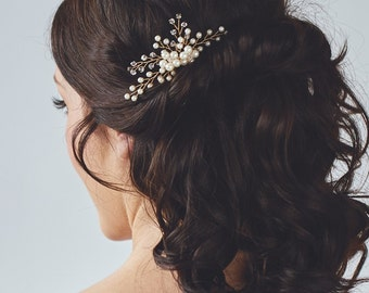 Gold Bridal Headpiece | Pearl Bridal Hair Comb | Wedding Hair Accessories | Wedding Hairpiece [Daphne Comb]