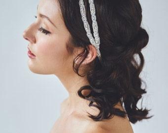 Double Rhinestone Bridal Headband | Behemian Bridal Headpiece | Crystal Wedding Hairband [Lucia Headband]