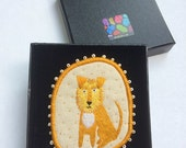 """Textile Pet Brooch - """"Leo"""" -  Funny Dogs - collection, hand embroidered textile dog jewelry"""